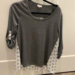 Pixley grey and polka dot top